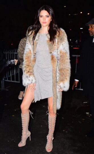 coat fur fur coat sandals kendall jenner dress gladiators kardashians long fur coat