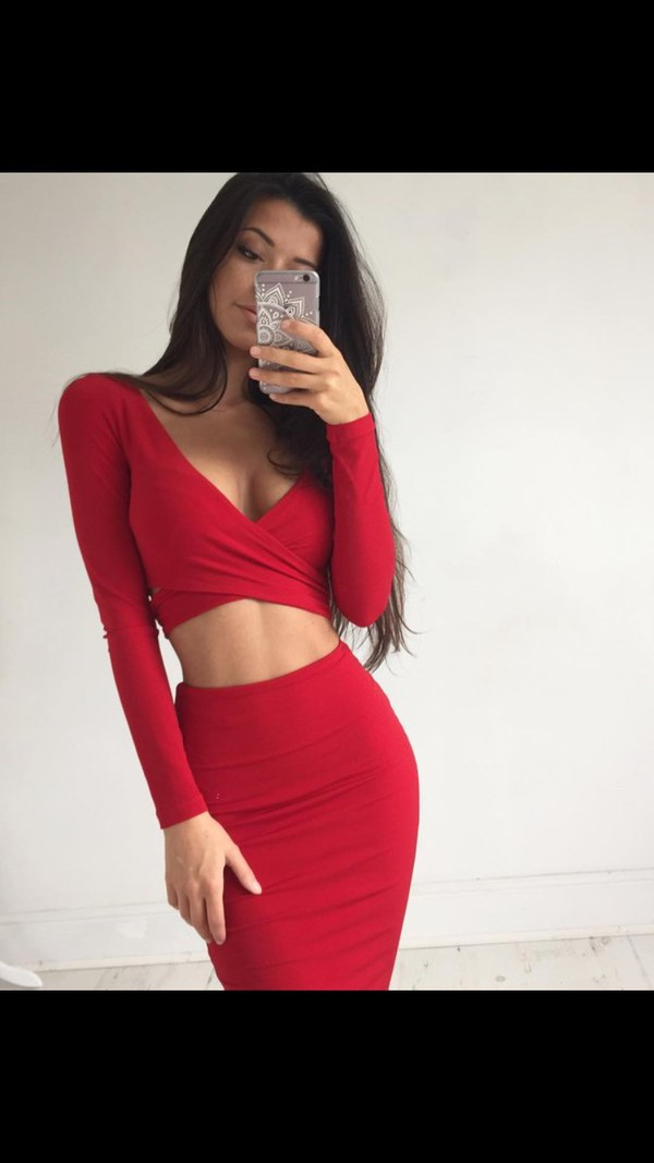 dress red dress red moulante top