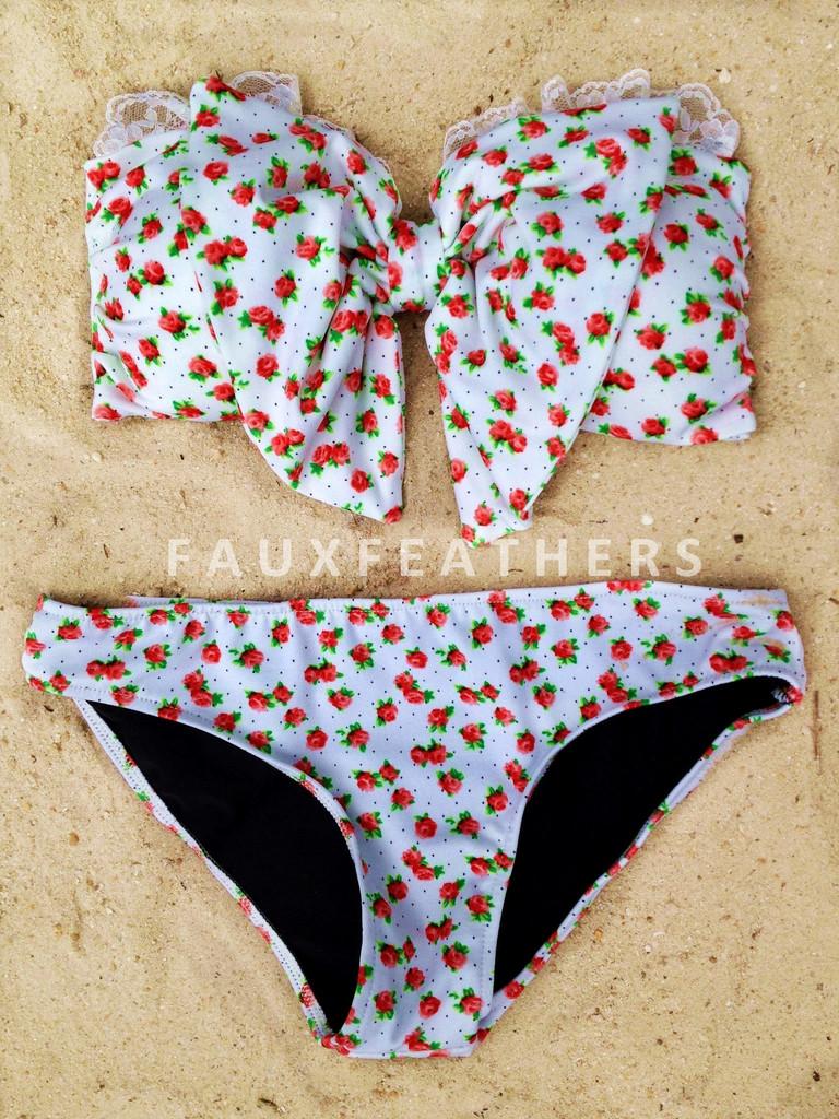 Floral bow bandeau bikini