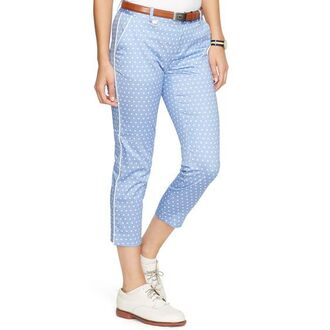 pants capri pants polka dots capri pants polka dots blue pants shoes oxfords white shoes belt brown belt