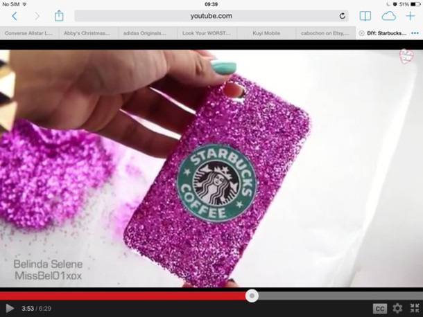 phone cover glitter starbucks coffee