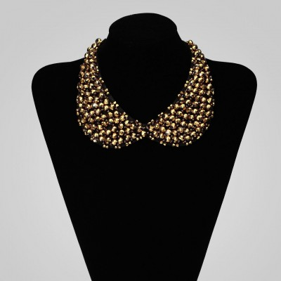 Beaded Peter Pan Collar Necklace Crystal Choker Necklace Gold