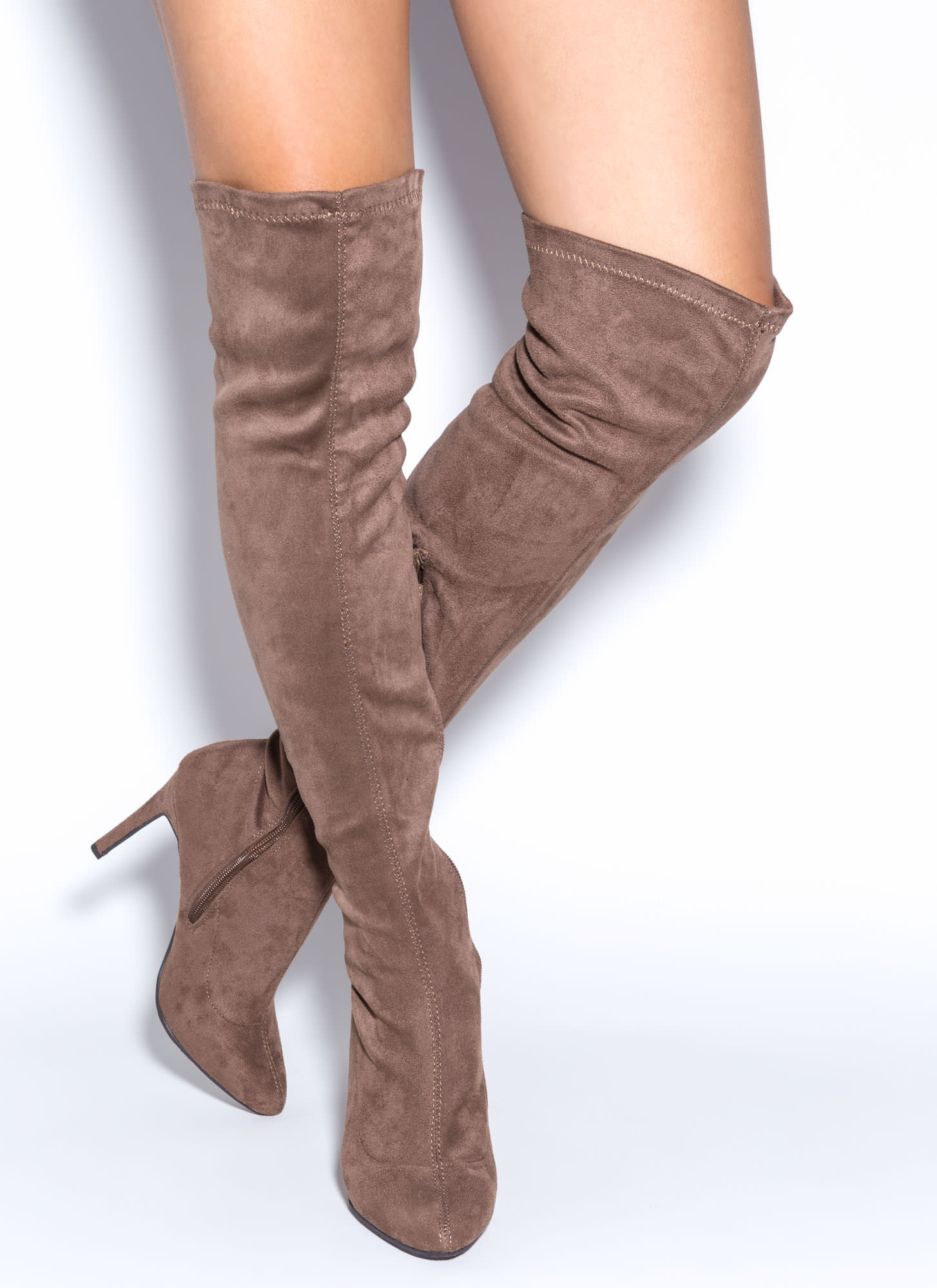 Trip Over-The-Knee Boots TAUPE TAN - GoJane.com
