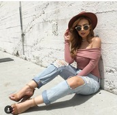 top,off the shoulder top,pink top,pink,blush pink,ripped jeans