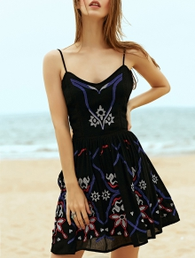 Ethnic Embroidered Women's Camisole Dress