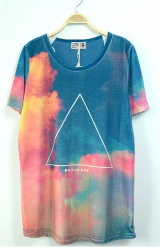 t-shirt shine sky triangle top hipster sky bright colored ebay clouds