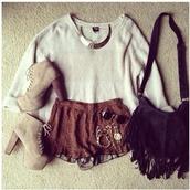 sweater,shorts,bag,jewels,sunglasses,shoes,fringed bag,top