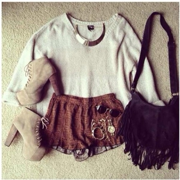 sweater shorts bag jewels sunglasses shoes fringed bag top