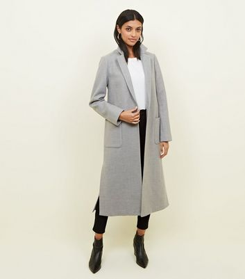 Pale Grey Bar Back Revere Collar Maxi Coat | New Look
