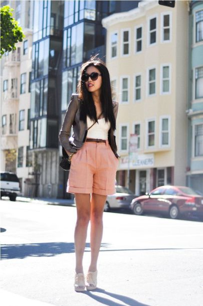 shorts white top grey blazer pink tailored shorts white sandals blogger sunglasses