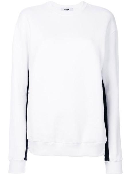 MSGM sweatshirt women stripes white cotton sweater
