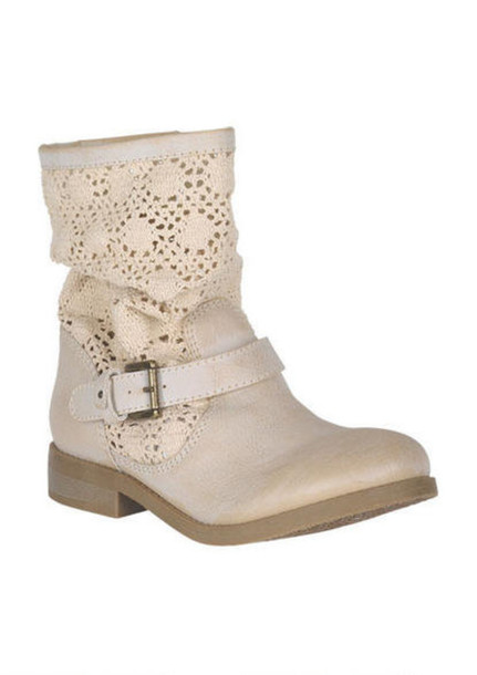Shoes: summer boots, combat boots, motorcycle boots, cream, white ...