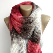 scarf,rectagular shawl,shawl,wrap,colorful beautiful scarf oversized obsessed,stripes,colorblock,pink,white,handmade,gift scarfs,moms gift,easter