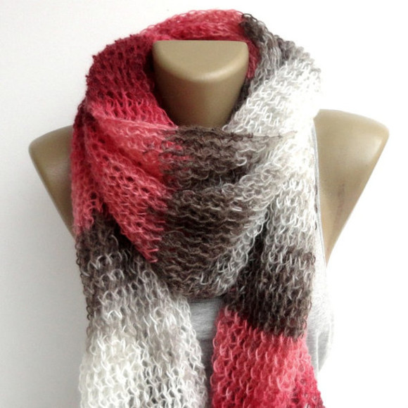 wrap white scarf rectagular shawl shawl colorful beautiful scarf oversized obsessed stripes color block pink chris brown beige, brown, long, big, scarf, winter, beautiful handmade gift scarfs moms gift easter