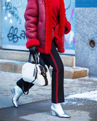 pants tumblr side stripe pants blue pants boots mid heel boots silver boots ankle boots pointed boots metallic shoes metallic bag white white bag red jacket jacket shearling jacket shearling top red top streetstyle winter outfits