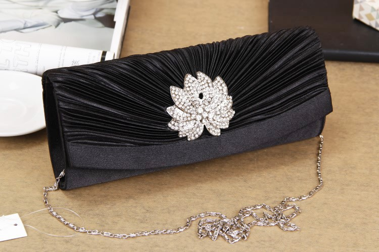 2014 high grade woman's black fashion flower rhinestone luxury ruched long bridesmaids banquet handbag party evening clutch bag-in Evening Bags from Luggage & Bags on Aliexpress.com