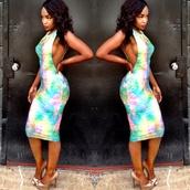 side boob,tie dye,tye dye dress,sexy dress,spandex bandeau,cut out bodycon dress,dress