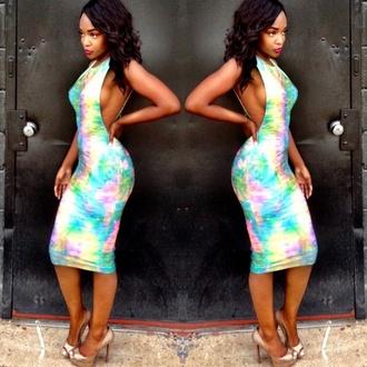 side boob tie dye tye dye dress sexy dress spandex bandeau cut out bodycon dress dress