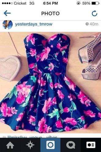 shoes high heels bag dress floral dress