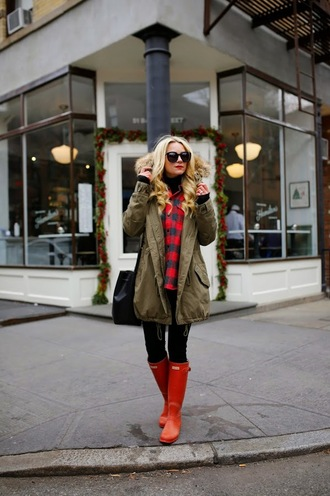 atlantic pacific blogger red wellies winter coat flannel scarf