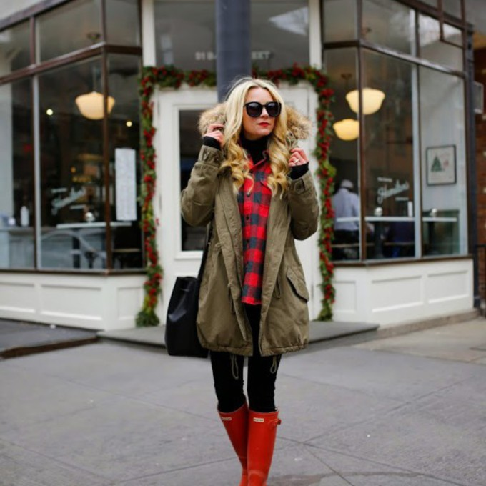 red flannel scarf blogger winter coat atlantic pacific wellies scarf red