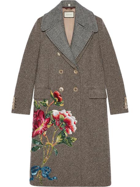 coat wool coat embroidered women pearl silk wool brown