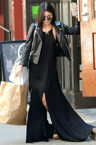 dress maxi dress black dress black vanessa hudgens jacket slit dress