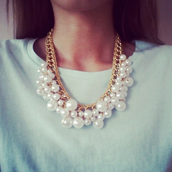 jewels pearl necklace white classy girls wear pearls golden pearls necklace perle collier blanc et or gold class jewels mode cute pretty chain gold