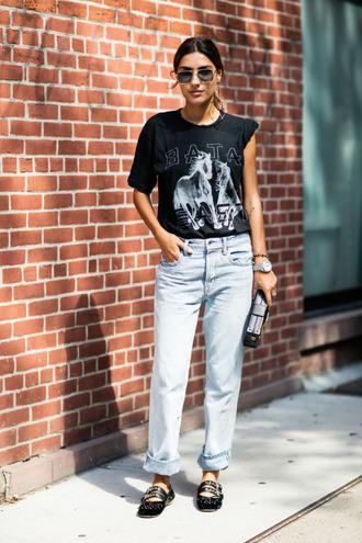 jeans straight jeans boyfriend jeans light blue jeans graphic tee miu miu shoes miu miu designer shoes designer cuffed jeans ballet flats light blue boyfriend jeans black t-shirt dress black t-shirt