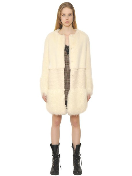 ERMANNO ERMANNO SCERVINO Paneled Faux Fur Coat in ivory