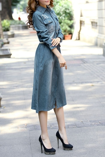 Long Sleeve Worn-out Denim Dress [FXBI00330] - PersunMall.com