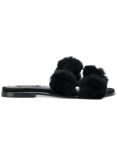 fur women sandals leather black shoes
