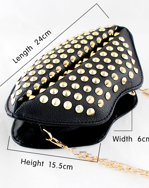 Black rivet pu leather satchels bag