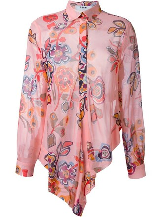 shirt floral print purple pink top