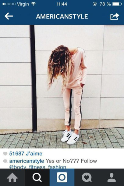 pants pink black