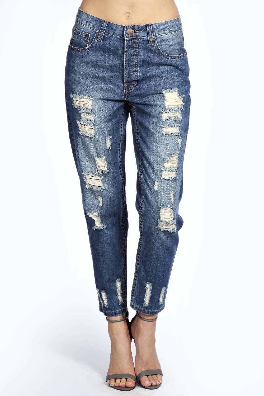 Sara mid stone wash distressed boyfriend jeans