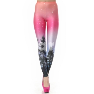Long Women Aurora Skye Neon Purple Leggings Free Size - Tmart.com
