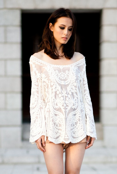 Cream white floral crochet lace tunic dress beach coverup