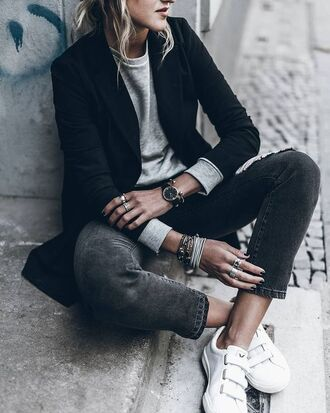 jacket tumblr black blazer blazer sweatshirt grey sweater jeans denim black jeans sneakers low top sneakers white sneakers bracelets watch ring fall outfits