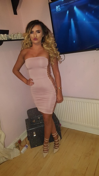 dress lace up the side lace up nude nude dress boob tube bodycon
