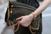 jewels,gold,gold watch,all black and gold wishlist,black and gold,studded bag,chain bag,gold chain,bag,black bag,nieten,studs,black,leather,chain,cute