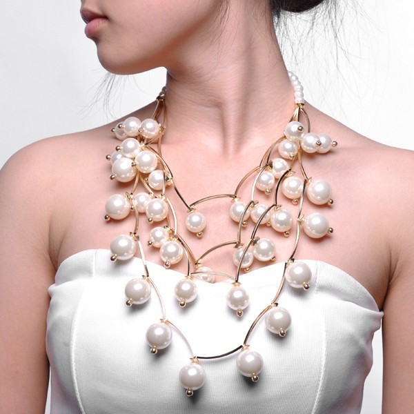 jewels pearl pearl statement necklace statement statement necklace gold bronze white aliexpress free shipping mixed color long choker necklace