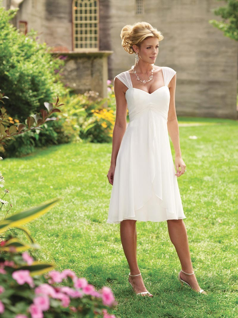 Short Cap Sleeves Tea Length Chiffon Informal Simple Wedding Dress W1487