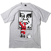 t-shirt,obey,christmas,face,grey,obey beanie,black and white,shirt,clothes