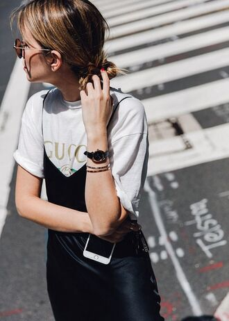 dress bracelets tumblr black dress slip dress satin satin dress t-shirt logo tee gucci t-shirt gucci black watch watch sunglasses gold bracelet gold jewelry