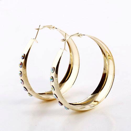 Fashion Gold Alloy Rhinestone Wide Female Hoop Earrings - DualShine