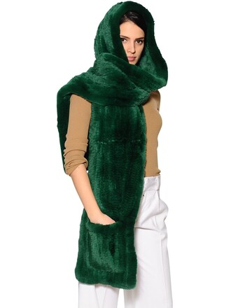 fur scarf green