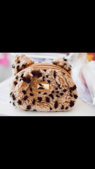 bag cute girly handbag purses leopard print brow pattern assesorys