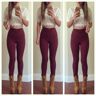 leggings jeans shirt shoes skinny high waisted burgundy tank top brown boots red top blouse lace top lace white top crop tops high heels high waisted jeans heels cute cute top cute outfits outfit spring outfits pants style fashion fall outfits bordeau girly