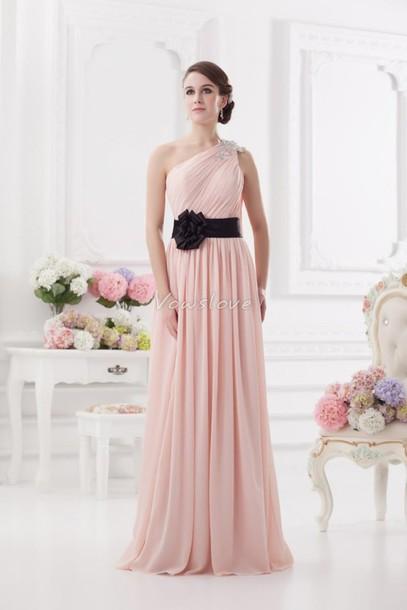 dress, pink black, vowslove, pink dress, two tone dress, pastel pink ...